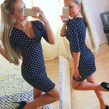 Blue Polka Dot Woman pinup Dress Vintage Rockabilly Sexy V-Neck Mini Dress  D_L = 1713306308