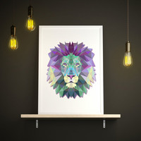 Geometric art Watercolor lion poster Animal decor