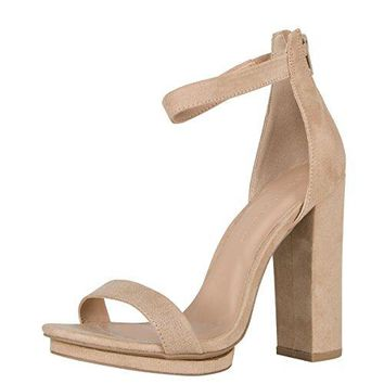 Wild Diva Womens Open Toe High Chunky Heel Ankle Strap Platform Sandal Pumps Shoes