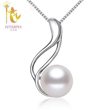 [NYMPH] Pearl Jewelry Natural Pearl Necklace Pendant Real Freshwater Pearl 925 Silver Fine Jewelry For Women P069