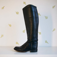 vintage womens black leather boots / size 7.5 / leather lined / knee high tall boots / 18 inch shaft / boulet