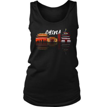 China Skyline Sunset Love Everything Chinese Women's Tank
