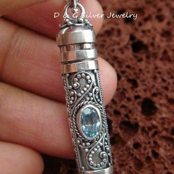 Hand Made 925 Silver Cremation Keepsake Pendant w / Gem PP-368-DG