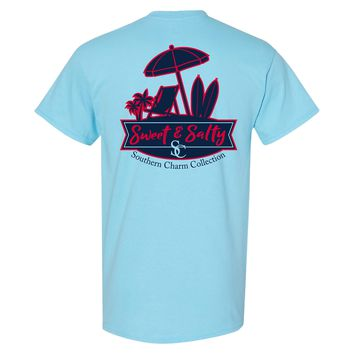 Sweet & Salty Southern Charm Collection on a Sky Blue T Shirt