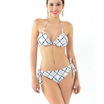 HOT CUTE PLAID SCALE TWO PIECE BIKINIS