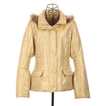 Yellow Ruffle Long Sleeved Hooded Quilted Coat