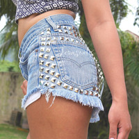 Levi High waisted studded denim shorts Grunge Hipster clothing