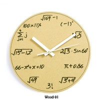 Eco-friendyly Math and Science Pop Quiz Wooden Wall Clock
