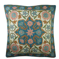 Bohemian Cushion Cover Suzani Floral Embroidered Handmade Pillow Case 16x16
