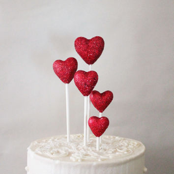 Red Glitter Heart Wedding Cake Toppers - Set of 5 - Available in any color - Hand-sculpted cake topper