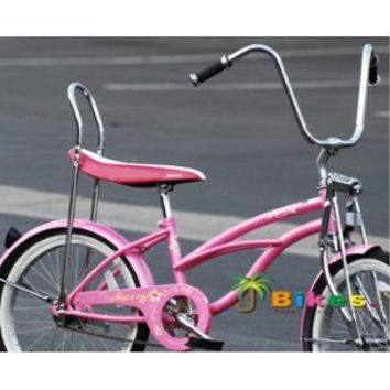 "J Bikes by Micargi Hero 20"" Girls Low Rider Beach Cruiser Bicycle Pink"