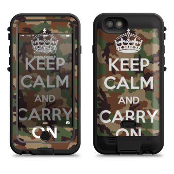 The Keep Calm & Carry On Camouflage  iPhone 6/6s Plus LifeProof Fre POWER Case Skin Kit