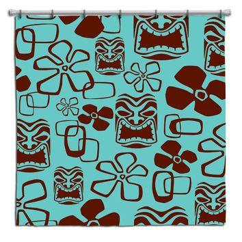 Aqua and Brown Tikis Hawaiian Shower Curtain