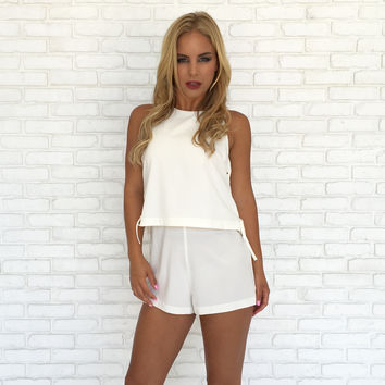 Sideline Tie Up Romper In Ivory