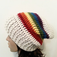 Everyday Slouch Hat - Rainbow Clouds- made to order