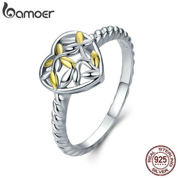 BAMOER Romantic New 925 Sterling Silver Heart Engrave Tree Leaves Pave Finger Rings for Women Sterling Silver Jewelry SCR326
