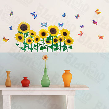 Sunflowers & Butterflies 2 - Wall Decals Stickers Appliques Home Decor