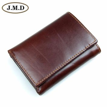 J.M.D Genuine Leather Men's RFID Blocking Leather Trifold Wallet Credit Card Holder With Secure ID Window R-8105Q
