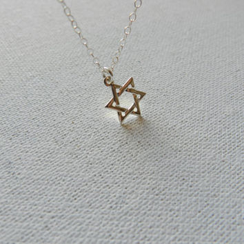 Silver necklace, sterling silver star of david necklace, magen david necklace, jewish jewelry, religious jewelry, bat mitzvah, Jewish Gift