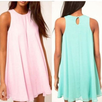 Chiffon Shift Dress in Pink or LightBlue