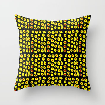 red and yellow polka dot- polka,polka dot,dot,pattern,circle,disc, point,abstract, minimalism Throw Pillow by oldking