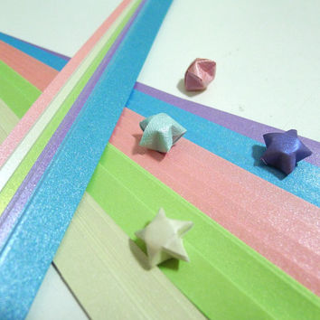 Pure Shimmer - Spring Hues -  Origami Lucky Star Paper Strips - pack of 70 strips
