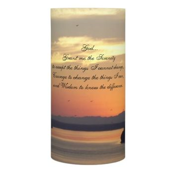 Serenity Prayer Seascape Sunset Photo Flameless Candle