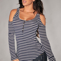 Stripes Cut-out Shoulder Long Sleeves Top