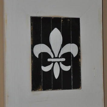 Fleur de Lis  Wood Sign by dlynnart on Etsy