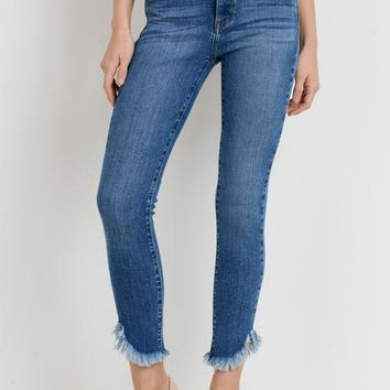 Just Black - Medium Blue Denim Hi Rise Skinny Diagonal Frayed Jeans