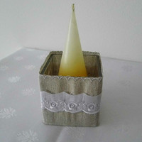 Set of burlap and lace table decor with table mat/ napkin ring/candle holder and a utensil/silverware holder