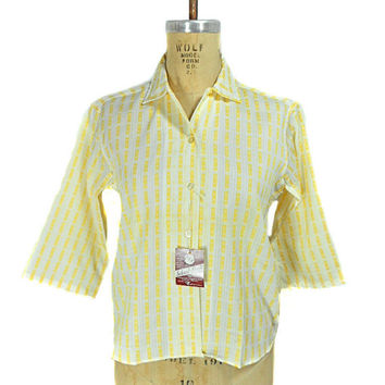 1960s Vanity Fair Patterned Blouse / Deadstock NWT / Mad Men / Yellow White / Spring Summer Blouse / Size 36 / Size Medium