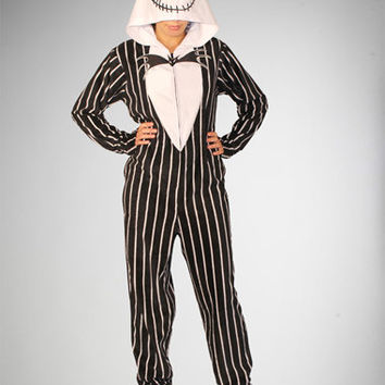 Nightmare Before Christmas Stripe Jack Footed Hooded Adult Pajamas 57804f79a