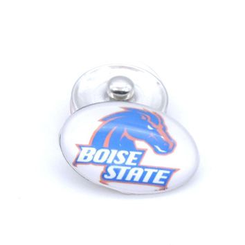Snap Button 18mmX25mm NCAA Boise State Broncos Charm Interchangeable Buttons Bracelet Football Fans Gift Paty Birthday