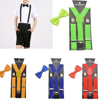 2PCS Diverse Color Boys Kids Suspenders BowTie Butterfly Tie Easy to Wear For Boy