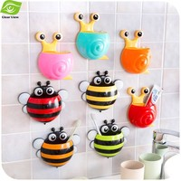 1Pc Snail Bee Cartoon Sucker Toothbrush Holder Cute Suction Hook Tooth Brush Cup Tool Bathroom Accessories