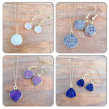 Druzy earring and Druzy necklace set! Gold plated stainless steel hypoallergenic earrings and 14k gold fill necklace. Perfect gift! Birthday