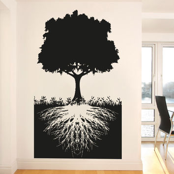 Vinyl Wall Decal Sticker Tree With Roots #5128