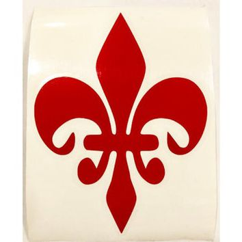 Fleur de Lis Vinyl Decal Red on Clear Transfer Paper, 5.5x4.15 inches, New Orleans Original, NOLA Gifts - Made in the USA - Free Shipping!