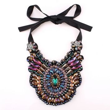 Black Rope Chain Big Chunky Colorful Crystal Pendant Necklace For Women