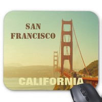 Retro Golden Gate Bridge San Francisco California Mouse Pad