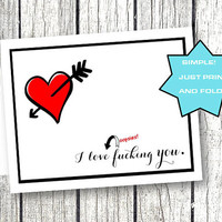 Valentines Day Card for him her funny naughty spouse boyfriend girlfriend wife printable heart black and red foldable printable download