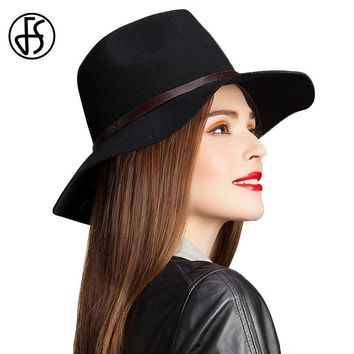 FS Wide Brim Wool Felt Hat Fashion Black Women Winter Vintage Panama Chapeu Fedora With Real Leather Design Ladies Trilby Hats