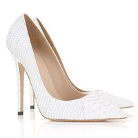 Shoes :'Paris' White Faux Snake Skin Point Toe Heels