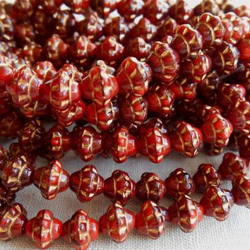 Lot of 25 small 5mm x 6mm opaque red saturn or saucer beads with gold accents, Czech glass spacer beads C7625