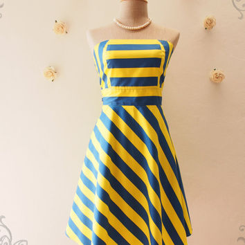 Stop Traffic Yellow Summer Dress Strapless Dress Yellow Blue Stripe Dress Sexy Sundress Beach Party Dress -Size XS-XL, custom
