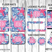 Lilly Pulitzer She Shells Car Mat /Plate & Frame / Seat belt cover / Key Chain / Car Coaster / Car Accessory Gift  Set