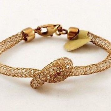 Women Unique Fashion Sterling Silver Gold Vermeil Knot Mesh Bracelet Crystals