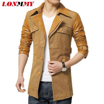 LONMMY Men casual jacket casacos long trench coat men Spell leather mens coat Men's clothes Casual New 2017 Autumn Winter Trench