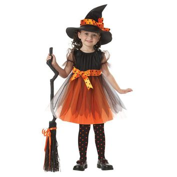 Cool Halloween Party Children Kids Cosplay Witch Costume For Girls Fancy Masquerade Halloween Costume Party Witch Dress With HatAT_93_12